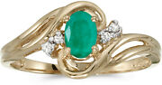 10k Yellow Gold Oval Emerald And Diamond Ring Cm-rm1219-05