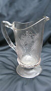1880s Eapg Pattern Glass Loganberry And Grape Blackberry And Grape Milk Pitcher