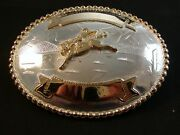 Western Silver And Gold 2 Tone Rodeo Cowboy Bucking Broncho Belt Buckle By Justin