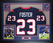 Arian Foster Autographed And Framed Blue Texans Jersey Auto Jsa Coa D1-l