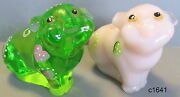 Lenox Fenton Romeo And Juliet The Little Pig Glass Figurine Set Of 2- New In Box