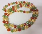 Antique Peking Jade Carnelian Color Glass 14k Gold Filled Bead Chinese Necklace
