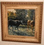 Cows In Water With Hills,trees And Sun Painting-1943-hans Weingaertner-n.j. Listed