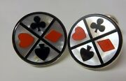 Vintage Signed Cecilia Men Heavy Sterling Silver Casino Card Suits Cufflinks