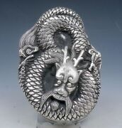 Tibetan Silver Crafted Large Heavy Ink Slab W/ Cover Curly Dragon Overlay