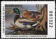 Louisiana 25a 2013 State Duck Stamp Mallards Non-residnet By Ronald Louque