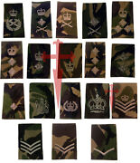 Pair Of Official Woodland Dpm British Military Rank Slides All Ranks Nsn