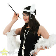 Ladies Flapper Set Feather Boa Headband Necklace And Cigarette Holder 1920and039s Kit
