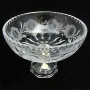 German Hand Cut Lead Crystal Compote Fruit Bowl Floral Pattern W/ Applied Base