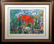 Amos Yaskil Red Mountain Hand Signed Lithograph Art Framed Judaic Artwork Obo