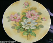 Vintage Lefton Hand Painted China Rose Flowers Yellow Cream Plate Signed 8.5