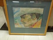 Vintage 1988 The Smoker Michael Barnes Mixed Media Watercolor Turquoise Framed