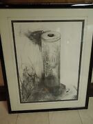 Circa 1992/3 The Bullet Signed Barnes Charcoal Pencil And Watercolor Framed Art