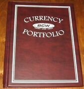 8 Bcw Maroon Small /large Bill Currency Portfolio Combo Albums W/ 3 Pocket Pages