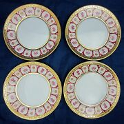Haviland And Parlon 4 Piece Lot Rose Dand039or Golden Roses 6.25 Bread Plates Dishes