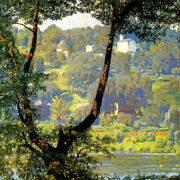 Tohickon Creek Gorge Village Landscape American Painting By Daniel Garber Repro