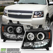 Blk 2007-2014 Chevy Suburban Tahoe Avalanche Led Halo Projector Headlights Lamps