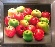 Samay Original Oil Art Green Andred Apples Fruits With Custom Silver Frame