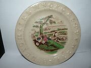 Antique Staffordshire Abc Childand039s Plate Children In Fallen Cart With Dog