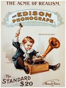 5623.the Acme Of Realism.edison Phonograph.standard.poster.home Office Decor