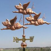Wonderful 3 Copper Flying Pigs Weathervane Made In Usa 316