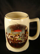 Stein Mug Cup Dogs Playing Cards Trim 22kt Gold Trim Beer Coffee Friend In Need