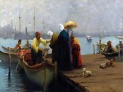 6500.muslim People Board Boat On Pier.woman With Umbrella.poster.art Wall Decor