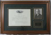 Harry S. Truman - Document Signed As President Ds Framed Autograph Signature