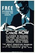 6869.free Neighborhood Classes For Adults.man With Glasses.poster.art Wall Decor