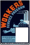 6888.workers Service Program.factory With Smoke Stacks.poster.art Wall Decor