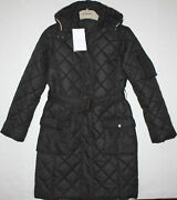 Nwt Girls Black Long Quilted Coat Size 10