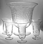 Pairpoint Glass - Engraved Grape 6 Piece Footed Juice Bowl And Glasses