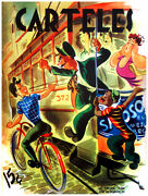 7816.retro Boy Holds On To Bus.bus Attendant Angry.poster.art Wall Decor