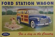Ford Station Wagon - Advertising Tin In Relief - For A Day In The Country