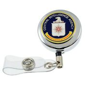 Cia Central Intelligence Security Badge Retractable Id Card Holder Reel Chrome