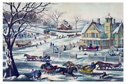 9046.small Village In Winter.horses Pulling Sleighs.poster.decor Home Office Art
