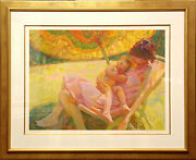 John Asaro Chinese Umbrella Signed Numbered Serigraph Mother And Baby, New Frame
