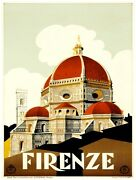 9529.firenze.church With Red Steeple.italy.poster.decor Home Office Art