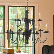Large Harrison Chandelier Primitive Wood And Metal 15 Candle Rustic Ceiling Light