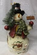 Beautiful Design Christmas Tree Snowman Hat Scarf Red Mittens Let It Snow