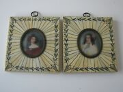 2pc Lot Antique Mounted Portrait Miniatures Mini Oval Decorated Frame Paintings