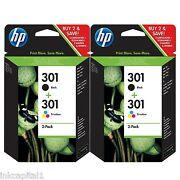 Hp No 301 2 X Black And 2 X Colour Oem Original Ink Cartridge Ch561ee Ch562ee