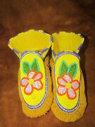 Native American Full Bead Colourful Flower With Leaf Moccasins, 9 Inches Long