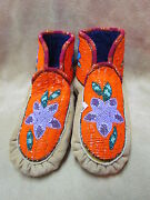 Native American Full Bead With Shining Indigo Flower Moccasins 9 Inches Long