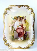 Old Vienna Austria Porcelain Cabinet Wall Plaque Tray Beehive Mark Artist Sign