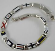 Massive Solid 18k White Gold Bracelet With Glazed Nautical Flags Made In Italy