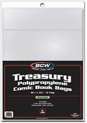200 Bcw Treasury Comic Book Resealable Poly Bags + Acid Free Backer Boards