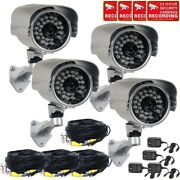 4 X Security Camera W/ Sony Effio Ccd700tvl Ir Day Night And Video Cable Power Wwf