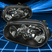 For 99-06 Vw Cabrio Golf Black Housing Clear Lens Headlight Lamps Replacement