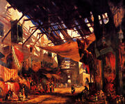 The Carpet Bazaar In Cairo Egypt Oriental Painting By William James Muller Repro